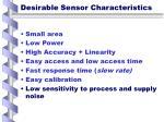 desirable sensor characteristics