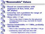 reasonable values