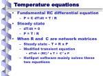 temperature equations