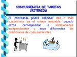 concurrencia de tarifas criterios