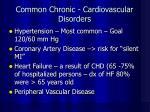 common chronic cardiovascular disorders