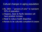 cultural changes in aging population