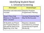 identifying student need 1 universal screening