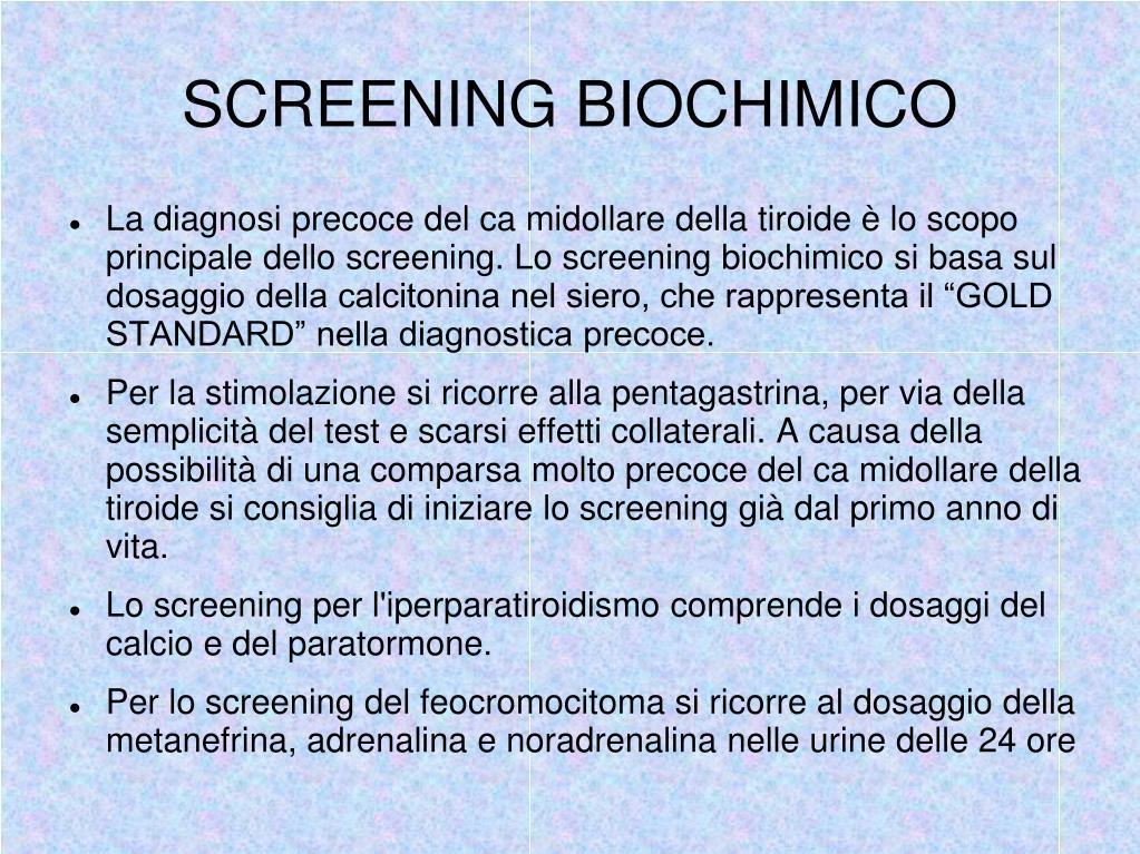 SCREENING BIOCHIMICO