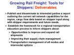 growing rail freight tools for shippers deliverables