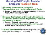 growing rail freight tools for shippers research team