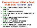 pavement impact of rail to truck modal shift research tasks