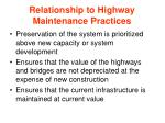 relationship to highway maintenance practices