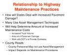 relationship to highway maintenance practices19