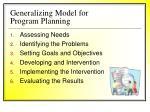 generalizing model for program planning