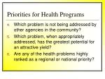 priorities for health programs