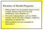 priorities of health programs