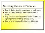 selecting factors priorities60