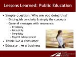 lessons learned public education
