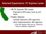 selected experience 91 express lanes