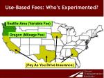 use based fees who s experimented