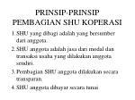 prinsip prinsip pembagian shu koperasi
