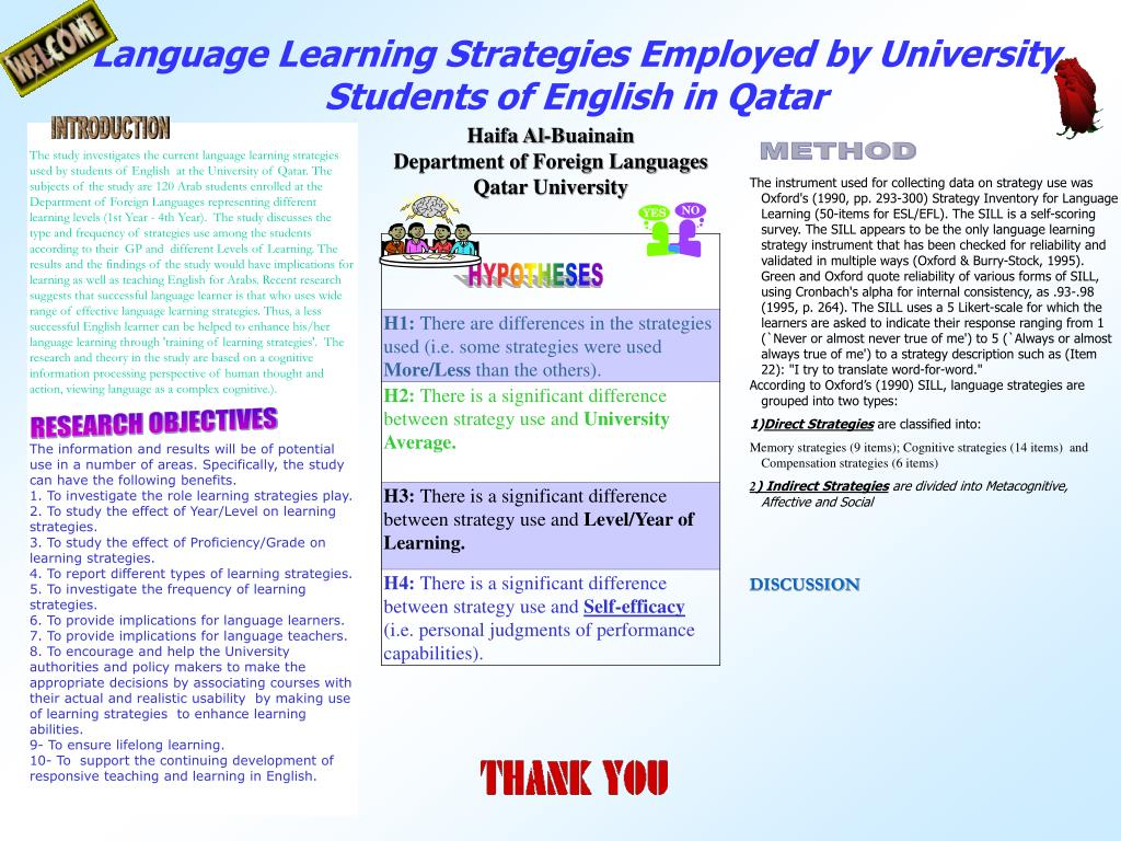 language learning strategies employed by university students of english in qatar l.
