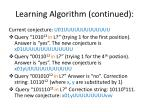 learning algorithm continued
