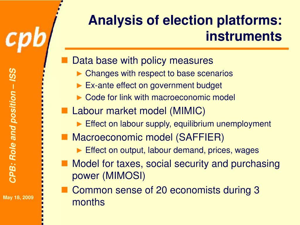 Analysis of election platforms: