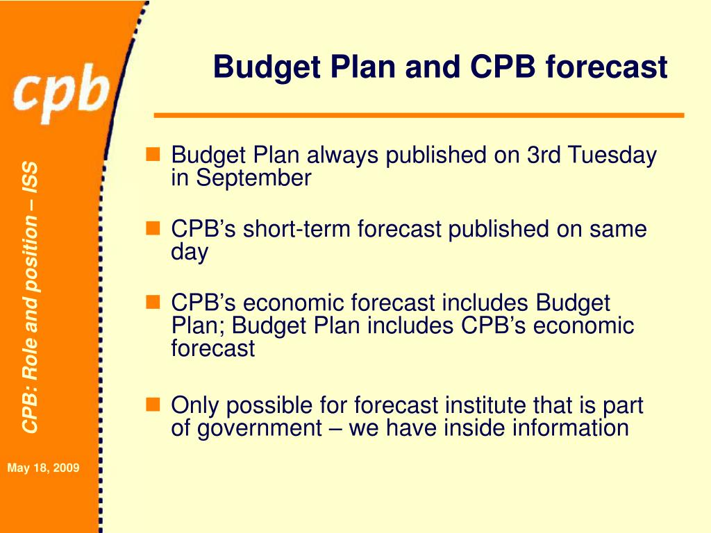 Budget Plan and CPB forecast