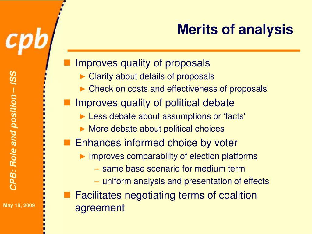 Merits of analysis