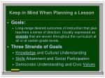 keep in mind when planning a lesson