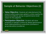 sample of behavior objectives 2