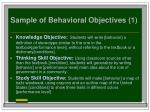 sample of behavioral objectives 1