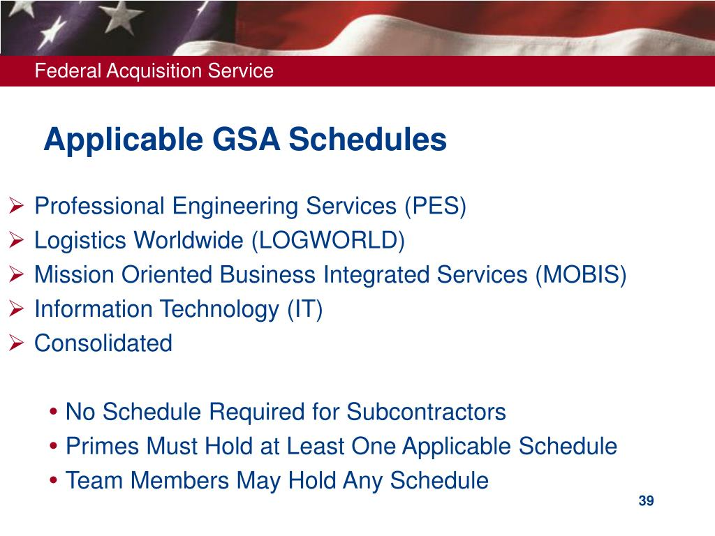 Applicable GSA Schedules