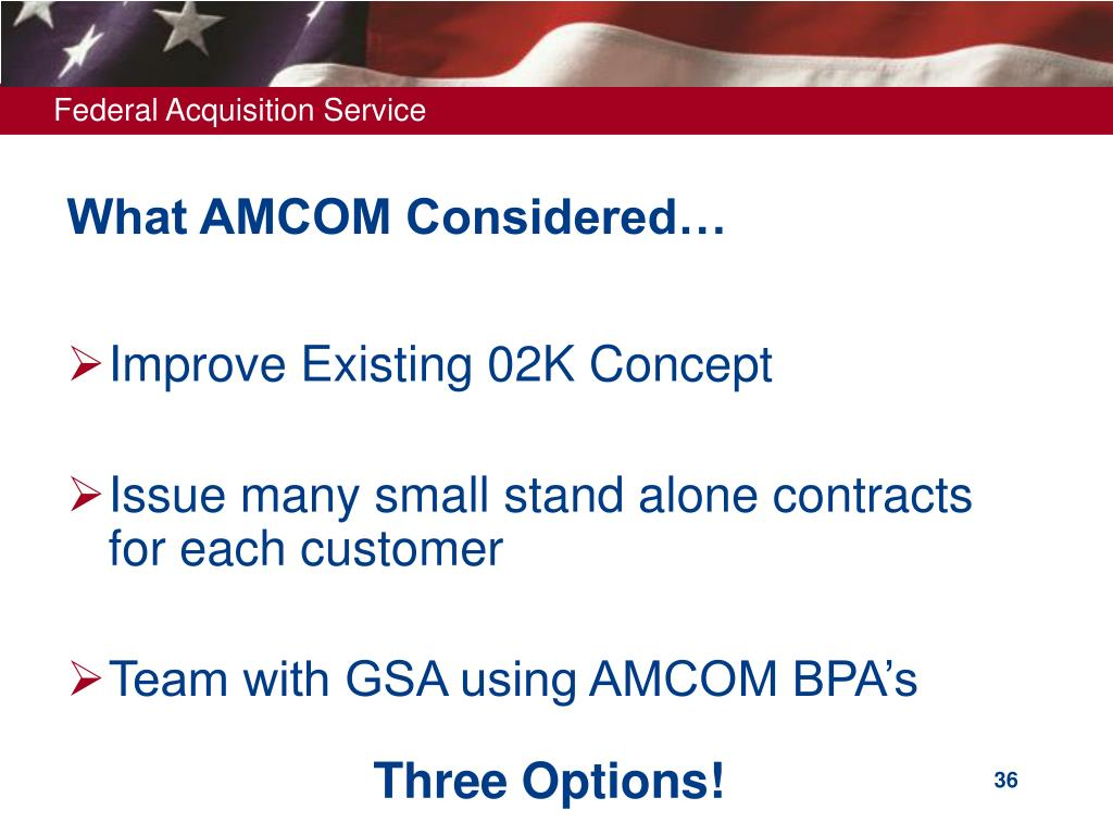 What AMCOM Considered…