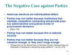 the negative case against parties