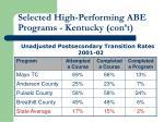 selected high performing abe programs kentucky con t
