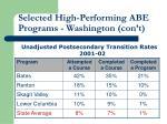 selected high performing abe programs washington con t