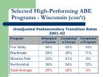 selected high performing abe programs wisconsin con t