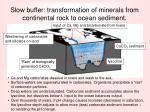 slow buffer transformation of minerals from continental rock to ocean sediment
