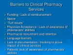 barriers to clinical pharmacy services
