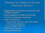reasons for initiation of clinical pharmacy services