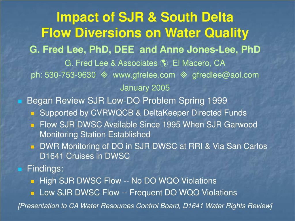 impact of sjr south delta flow diversions on water quality l.