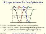le slopes assumed for path optimization