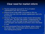 clear need for market reform