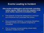 events leading to incident