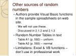 other sources of random numbers