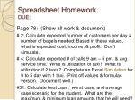spreadsheet homework due