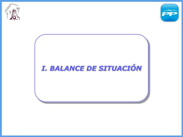 I. BALANCE DE SITUACIÓN
