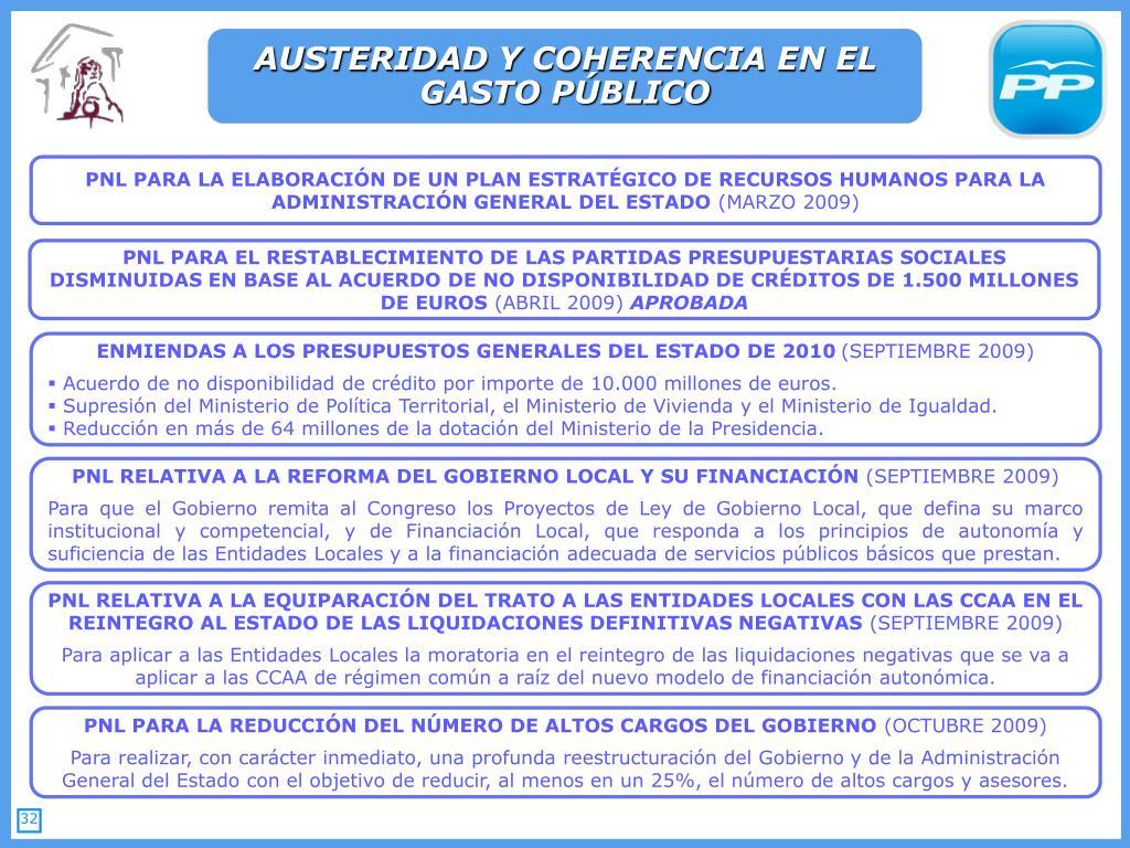 AUSTERIDAD Y COHERENCIA EN EL GASTO PÚBLICO