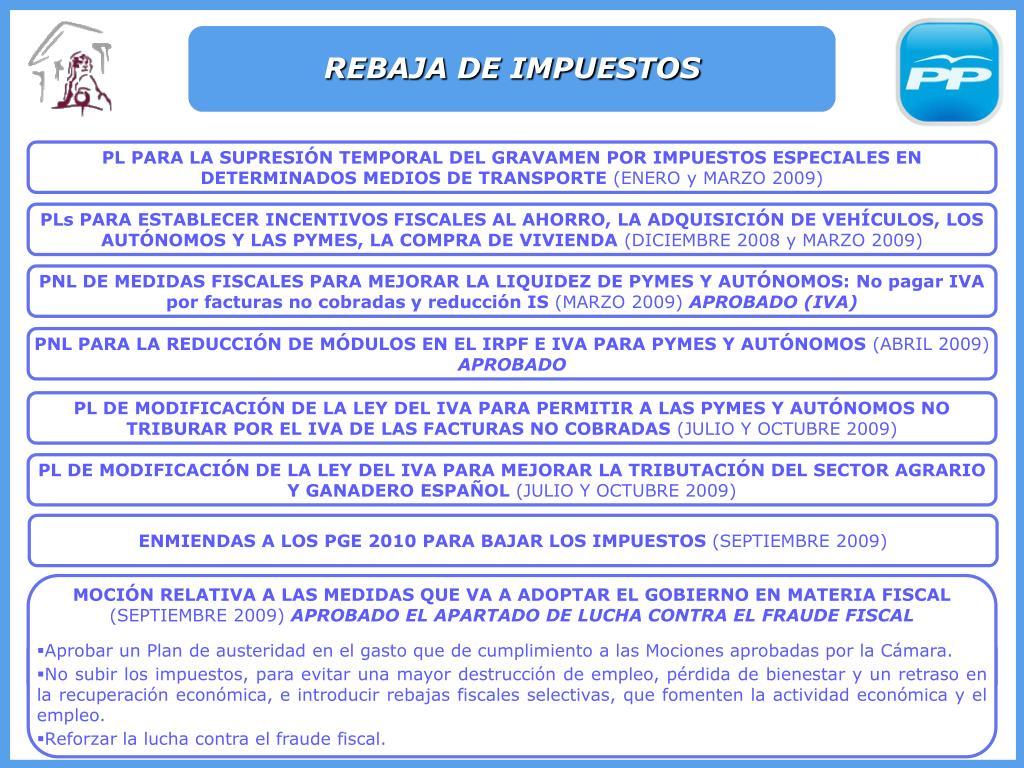 REBAJA DE IMPUESTOS