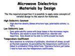 microwave dielectrics materials by design