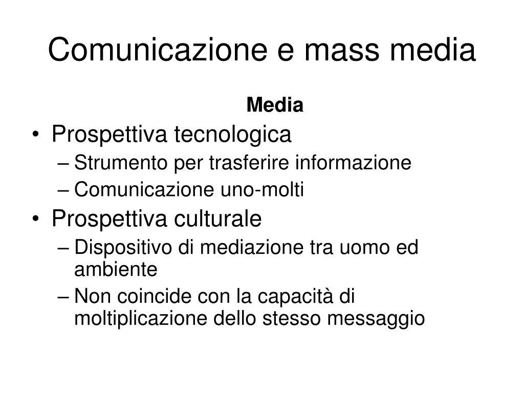 comunicazione e mass media l.