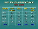 lame seasons in northeast 800 events